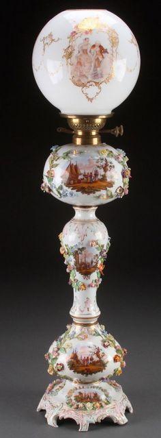 Dresden Porcelain Banquet Lamp, cir. 1885
