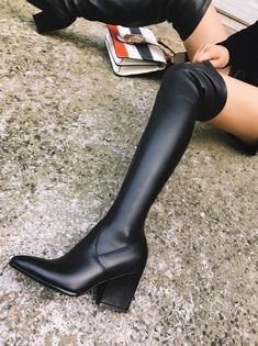 2cca5c01f386b Designer Cone Heel Slouch Boots(Plus Size) in 2019 | High Boots ...