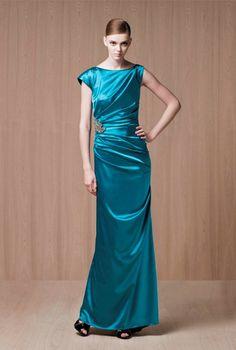 A-line Bateau Neckline Cap Sleeves Beaded Applique Satin Evening Dress-soe0050,  $169.95
