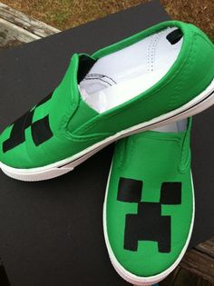 Minecraft shoes/ canvas/ creeper/ slipon/big boys/ teenage boys/ custom painted shoes/ baby shoes/ toddler shoes/ kids shoes