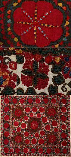 Antique Central Asian Suzani. Silk Embroidery on Cotton  Circa 1870