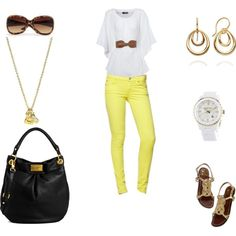 White/with Yellow, created by annekehildebrand on Polyvore