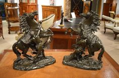 A Large Pair Of Antique Bronze Marley Horses
