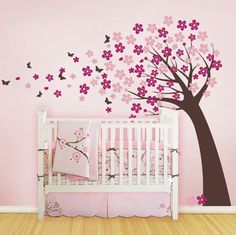Blowing Cherry Blossom Tree with Butterflies - Vinyl Wall Decals. $86.00, via Etsy.