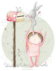Children Illustration - Nursery Wall Art - Love And Friendship, Bunny Love - A3