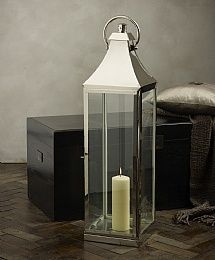 Nickel And Glass Tall Lantern