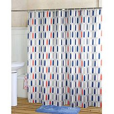 Shower Curtain Orange Amp Blue Print Thick Fabric Water Resistant W71 X L71