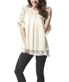 Look at this Simply Couture Beige Lace Pleated Tunic - Women on #zulily today!