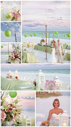 Beach wedding - green & pink ... ♥ Ideas for brides, grooms, parents & planners ... https://itunes.apple.com/us/app/the-gold-wedding-planner/id498112599?ls=1=8 ♥