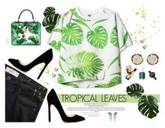 """""""Tropical leaves"""" by gabyidc ❤ liked on Polyvore featuring MANGO, Guerlain, Essie, Miu Miu, Movado, Stephen Webster and Dolce&Gabbana"""