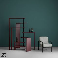 Poltrona | Armchair SUSANNA, Gabriele Mucchi 1983 Mobile a ripiani rotanti | Rotating shelf unit JOY, Achille Castiglini 1989  Nuove finiture | New finishes Joy e Susanna con un look ancora più contemporaneo grazie alle nuove finiture e ai nuovi tessuti.  Joy and Susanna feature a more contemporary look thanks to new finishes and new covers.
