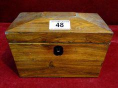 48)19thC rosewood sarcophagus tea caddy Est. £25-£35