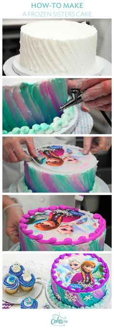 Learn how to make a Frozen Sisters cake with Elsa and Anna on a printed edible cake decoration. Bolo Frozen, Ana Frozen, Disney Frozen, Pretty Cakes, Cute Cakes, Bolo Elsa, Pastel Frozen, Rodjendanske Torte, Airbrush Cake