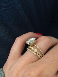 this but rose gold and pear shaped. Large Moissanite!! - Weddingbee