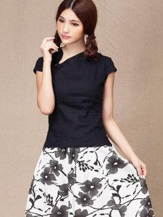 f3f59e3552b Navy Linen Short Sleeve Chinese Qipao   Cheongsam Shirt