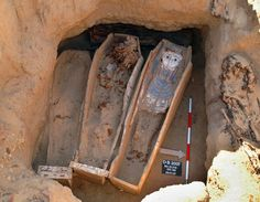 Mummy Unearthed - ancient-history Photo.Archaeologists discovered four coffins containing mummies in the largest burial yet found at Deir el Banat,an ancient Egyptian necropolis southwest of Cairo.