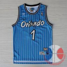 maillot de basket pas cher Orlando Magic McGrady #1 Bleu mesh tissu