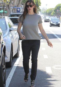 Jennifer Garner in Black Givenchy Cutout Block Heel Sandals