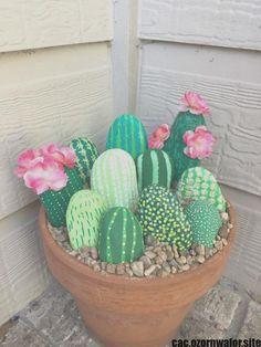 Cactus Rock Painting - Cactus Rocks Diycactus Paintedrocks With Images Rock Crafts 50 Painted Rocks That Look Like Succulents Cacti Painted Rock Painted Cactus Rock Garden E. Garden Crafts, Garden Projects, Craft Projects, Craft Ideas, Garden Ideas, Diy Ideas, Decor Ideas, Diy Garden, Party Garden