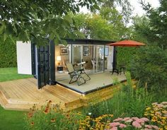 Small cabin retreat made from a shipping container. by nessaO