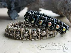 Ailis, new pattern in progress. Ailis is a bangle made with crescent beads, 2-hole cabochon beads, O-beads, seed beads, round beads and superduo's. Bianc Molen Designs © 2015 just empty link, saving for picture