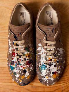 The Maison Martin Margiela #Splatter Replica #Sneakers are Spontaneous trendhunter.com