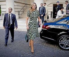 On October 11, 2016, Queen Maxima of the Netherlands attended a meeting with President of Argentina's Central Bank, Federico Sturzenegger in Buenos Aires, Argentina. Queen Maxima started an official visit to Argentina, her native country, as special advisor for the United Nations's (UN) Finance for Development Programme. Queen Maxima wore GIVENCHY Leopard Print A-line Dress.