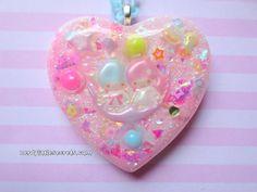 Pastel Little Twin Stars Moon Heart Necklace by NerdyLittleSecrets