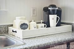 DIY rustic tray for a lovely coffee station - lizmarieblog.com