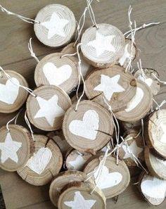 Houtschijfje voor kerstboom, zelf plaatjes op schilderen. verkrijgbaar op webshop www.decoratietakken.nl