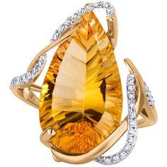 Rosamaria G Frangini | High Yellow Jewellery | Women's Yellow Gold Rings by Arya Esha Mia Citrine and Diamond Ring