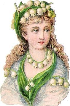 Glanzbilder - Victorian Die Cut - Victorian Scrap - Tube Victorienne - Glansbilleder - Plaatjes : Blumenelfen