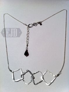 Four Hammered Squares Necklace. Wire Pendant, Metal Necklaces, Simple Necklace, Silver Jewellery, Garnet, Squares, Jewelry Design, Sterling Silver, Chain