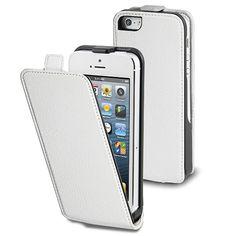 Muvit iPhone 5/5s/SE slim flip case wit     De witte Muvit iPhone 5(s) en SE slim flip case beschermt uw telefoon tegen schade en krassen. De slanke flip case is voorzien van een verticale voorflap, een magnetische sluiting en een opening voor de camera. U kunt uw iPhone 5(s) of iPhone SE dus ook tijdens gebruik in de case laten zitten.