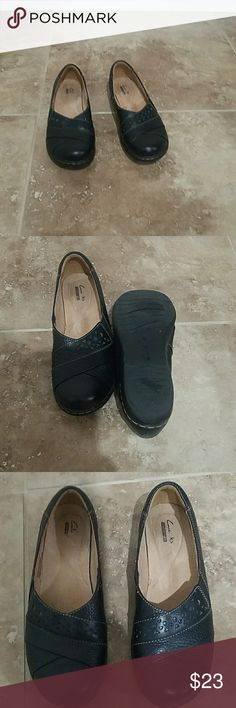 Clarks slip on shoes Clarks black leather slip on shoes gently working slight wear on heels. clarks Shoes Flats & Loafers