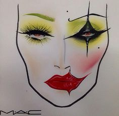 Joker's Girlfriend Halloween makeup face chart IG: missj15                                                                                                                                                     More
