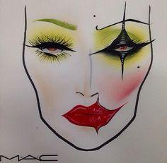 Joker's Girlfriend Halloween makeup face chart IG: missj15                                                                                                                                                     More