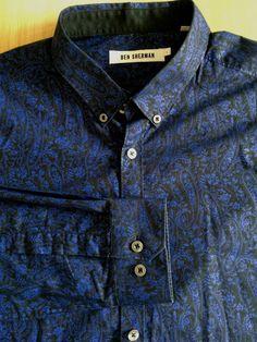 Ben Sherman London mens shirt black blue paisley long sleeves button-down large   eBay