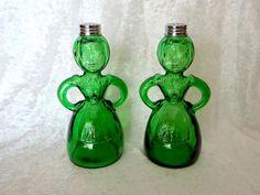 Vintage Green Glass Salt & Pepper Shakers by TimelessTreasuresbyM