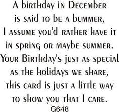 DRS Designs - Cling Stamp - December Birthday Greeting