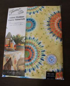 Fiesta Worn Tiles Indoor Outdoor Fabric Tablecloth 70 Round