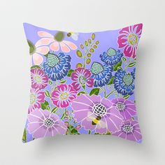 Bee in the Garden  Throw Pillow by Shelly Brewer Penko - $20.00
