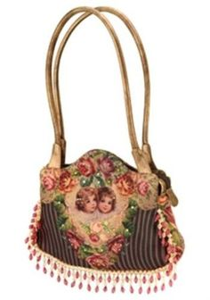 Michal Negrin Leather Handle Bag with Victorian Style Cherubs Printed Velvet Design, Embroidery Lace and Beaded Strips, Swarovski Crystals and Glitter,