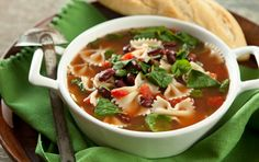 Quick Italian Spinach and Pasta Soup:  This soup is simply made from pantry staples including vegetable broth, diced tomatoes, canned beans and dried pasta. Look to the freezer for some frozen spinach or other favorite vegetables to add. With a salad and bread, this makes a warming, healthful meal.