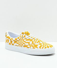 Embodying simple features with a unique composition, the Diamond Supply Co. Avenue QS Gold and White Skate Shoes have an asymmetrical upper design that features a warped checkerboard print pattern across the durable canvas. Mens Skate Shoes, Checkerboard Pattern, Diamond Supply Co, Suede Heels, Men's Shoes, Athletic Shoes, Sneakers, Gold, Accessories