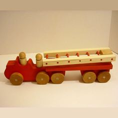 Handcrafted Wooden Toy Fire Truck With Wooden People