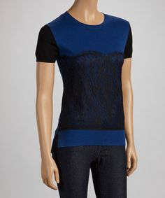 Take a look at this Blue & Black Lace Top by ELIO on #zulily today! $27 !!