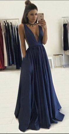 Sexy Prom Dresses, Navy Blue Prom Dresses,V-neck Prom Dresses,Simple Cheap Handmade Prom Dress,Prom Dresses For Teens,A-line Prom Gowns,Modest Evening Dresses,Elegant Party Dresses