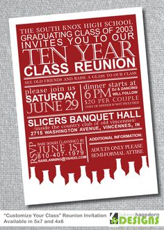 This class reunion invite idea could work for several kinds of reunions and gatherings.