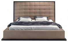 Ludlow Bed Wenge Taupe Leather Wenge Taupe Leather Cali King - KF